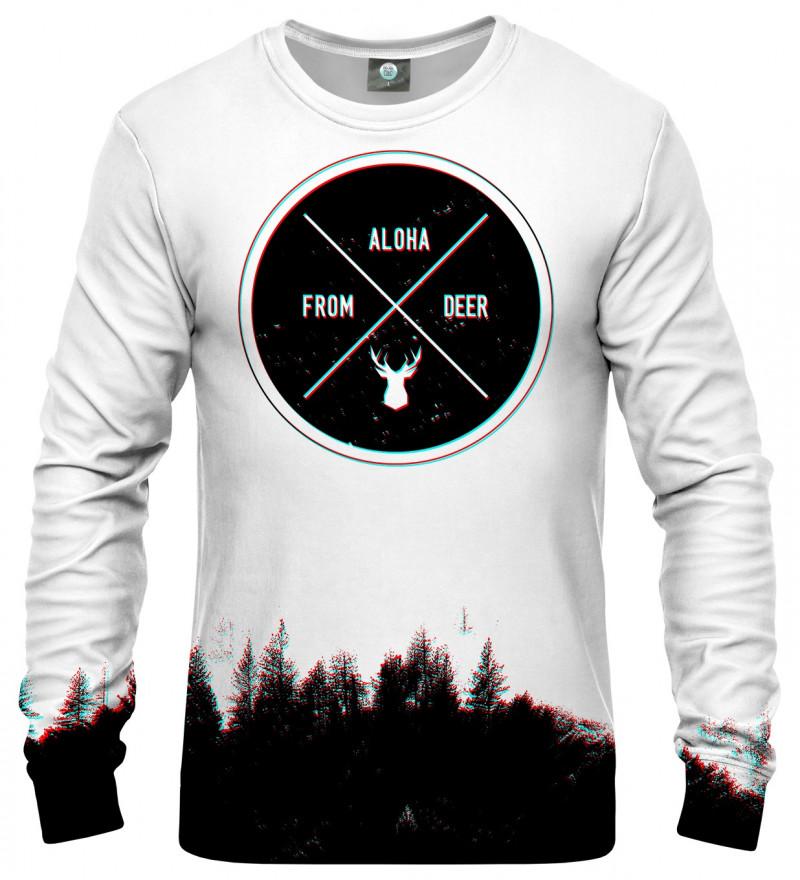 white sweatshirt with aloha from deer inscription