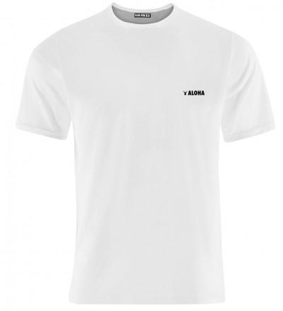 biała koszulka z napisem aloha