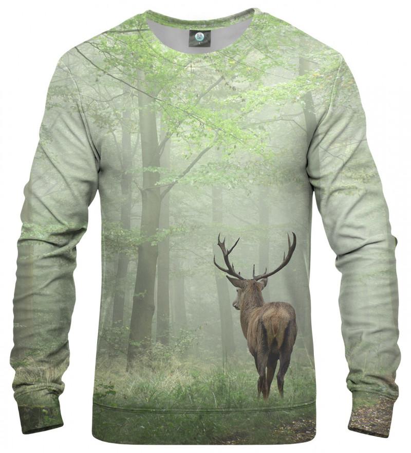 green sweatshirt with deer motive