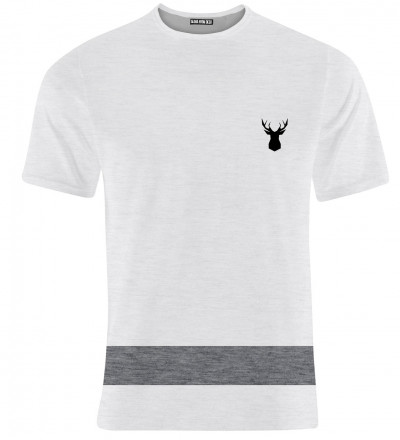 white sweatshirt with deer logo