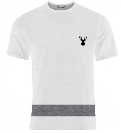 biała koszulka z logo jelenia