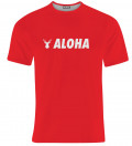 red tshirt with aloha inscription