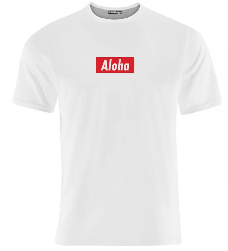 white women tshirt with aloha inscription
