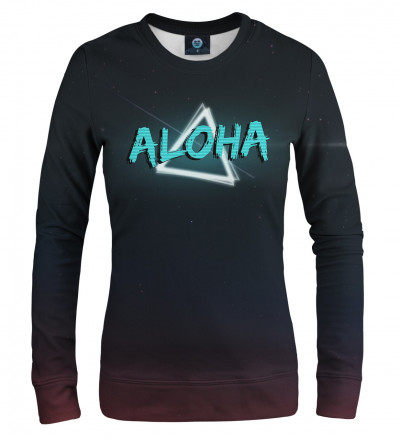 women sweatshirt with neon motive and aloha inscription