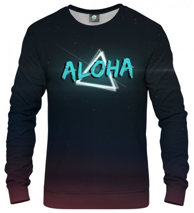 sweastshirt with neon motive and aloha inscription