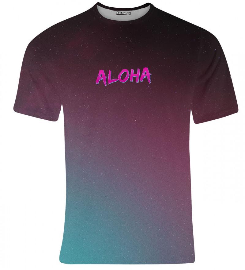 purple tshirt with aloha inscription