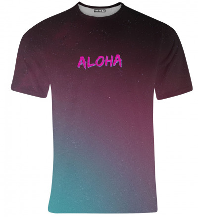 purple tshirt with aloha inscription