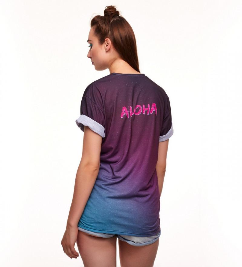 fioletowa koszulka z napisem aloha