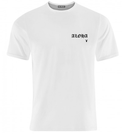 white tshirt with aloha inscription