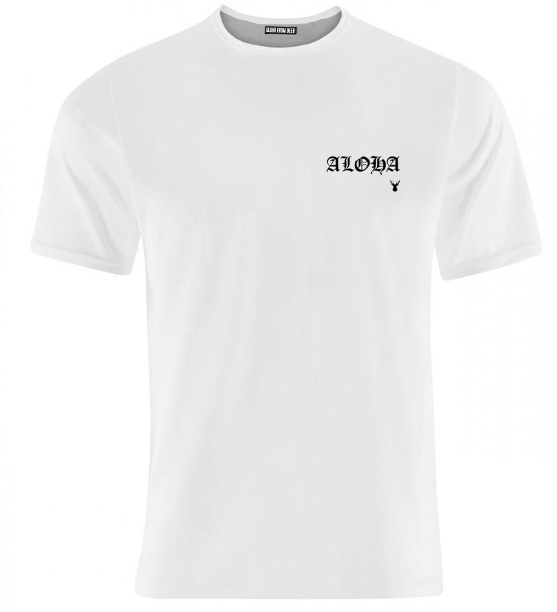 white tshirt with aloha inscription