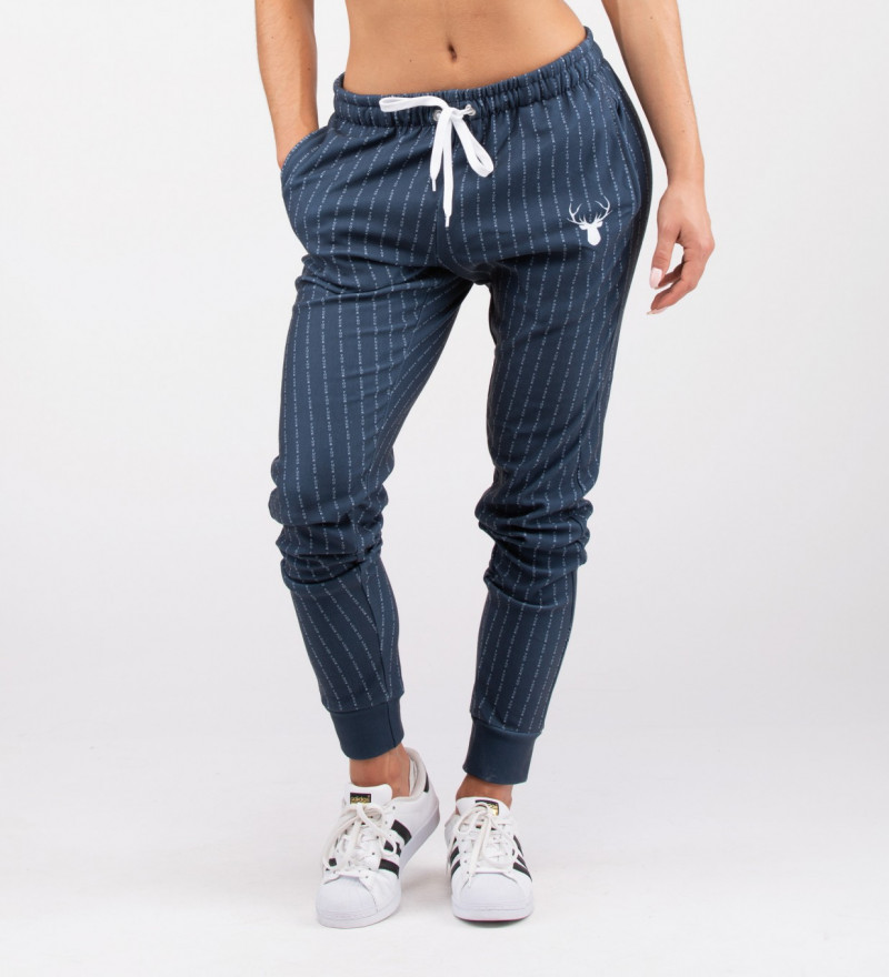 navy sweatpants with fk you inscription