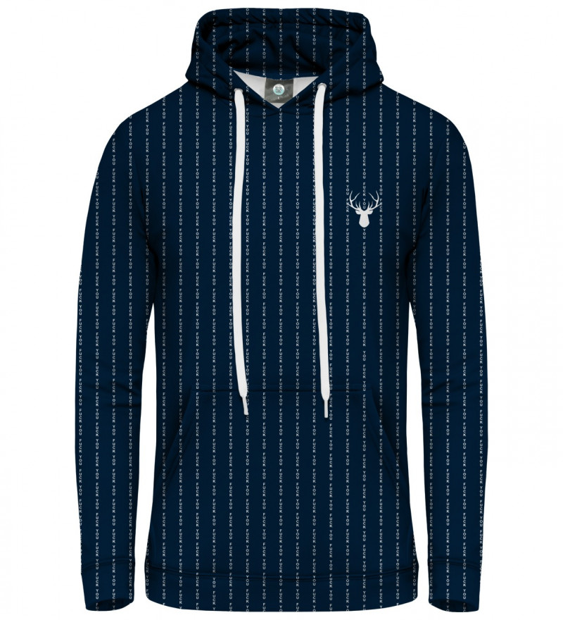 navy hoodie with fk you inscription