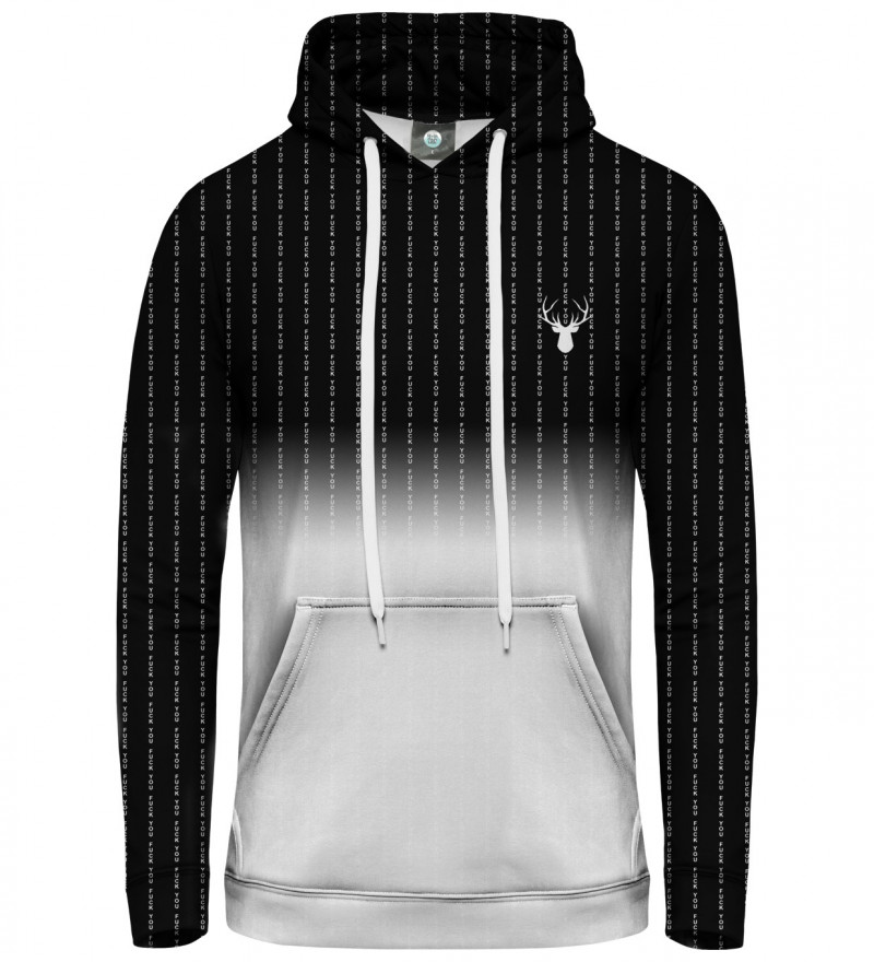 black and white women hoodie with  fk you inscription