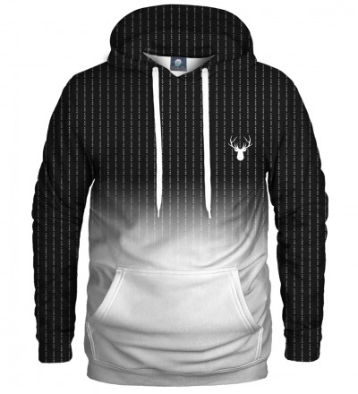 black and white hoodie with fk you inscription