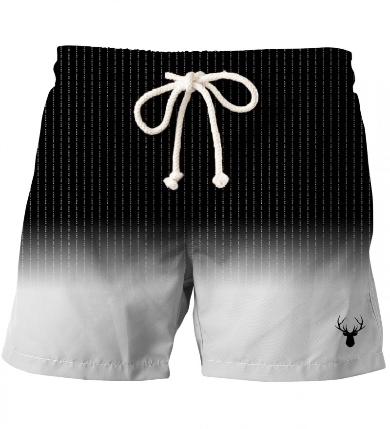black and white shorts with fk you inscription
