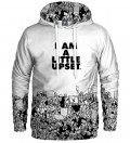 white hoodie with I'm a little upset inscription
