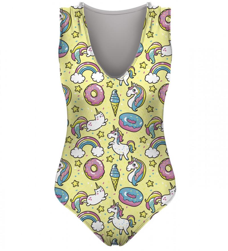 yellow swimsuit with unicorn motive