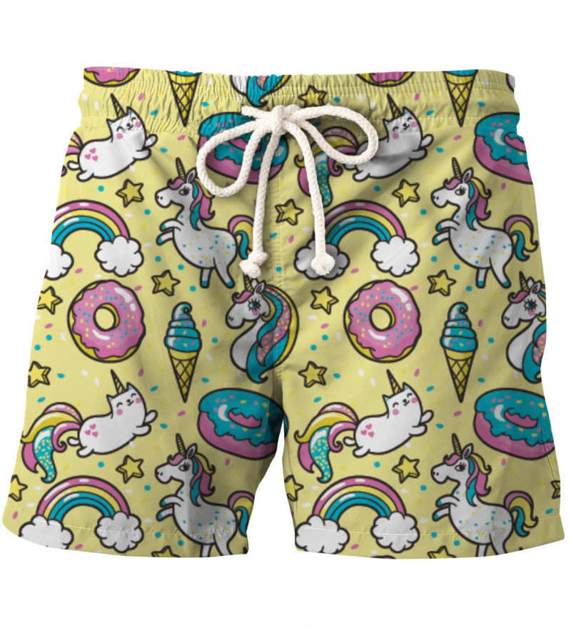 yellow shorts with unicorns motive