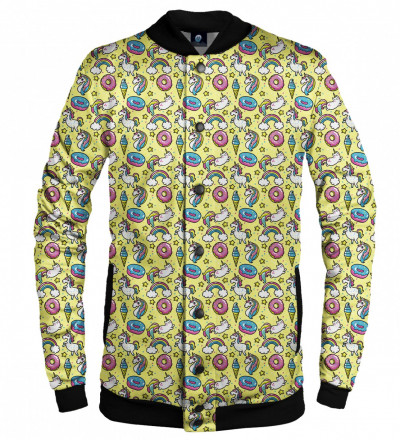 yellow baseball jacket with unicorns motive