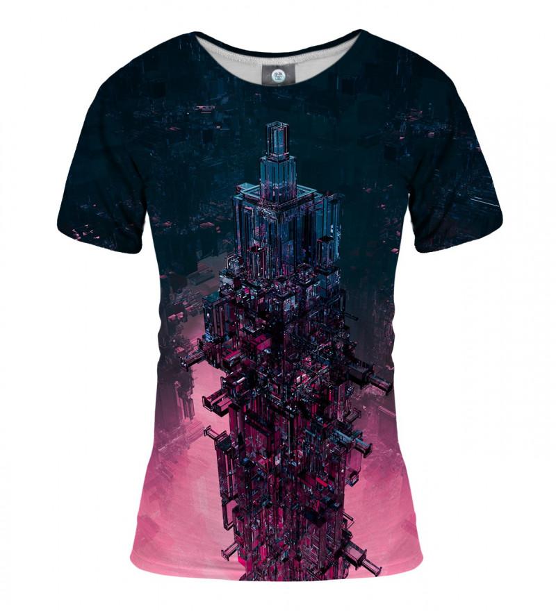 damska koszulka z motywem szklanej wieży