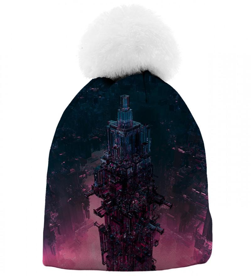 czapka z motywem szklanej wieży