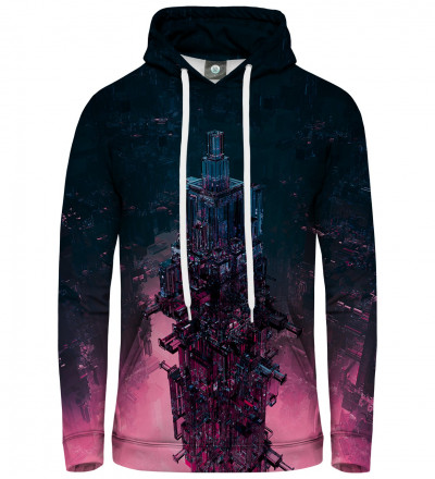 women hoodie with glass tower motive