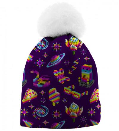 fioletowa czapka