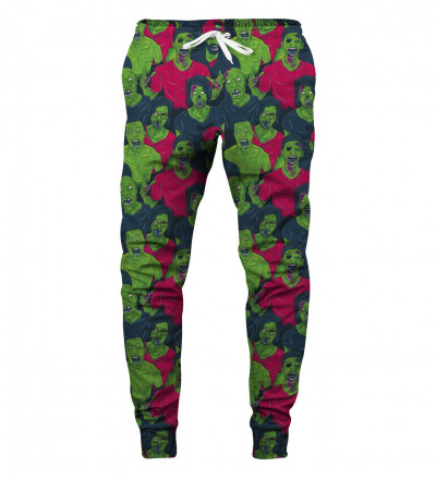 sweatpants with green zombie motive
