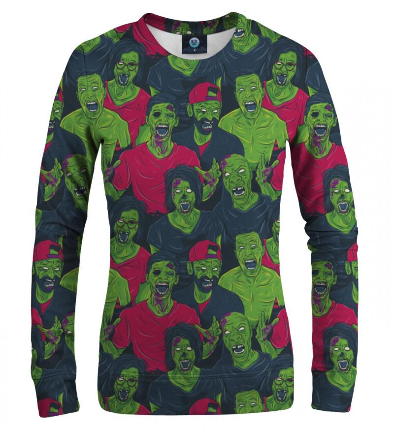 women sweatshirt with green zombie motive