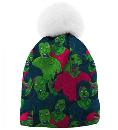czapka z motywem zielonych zombie