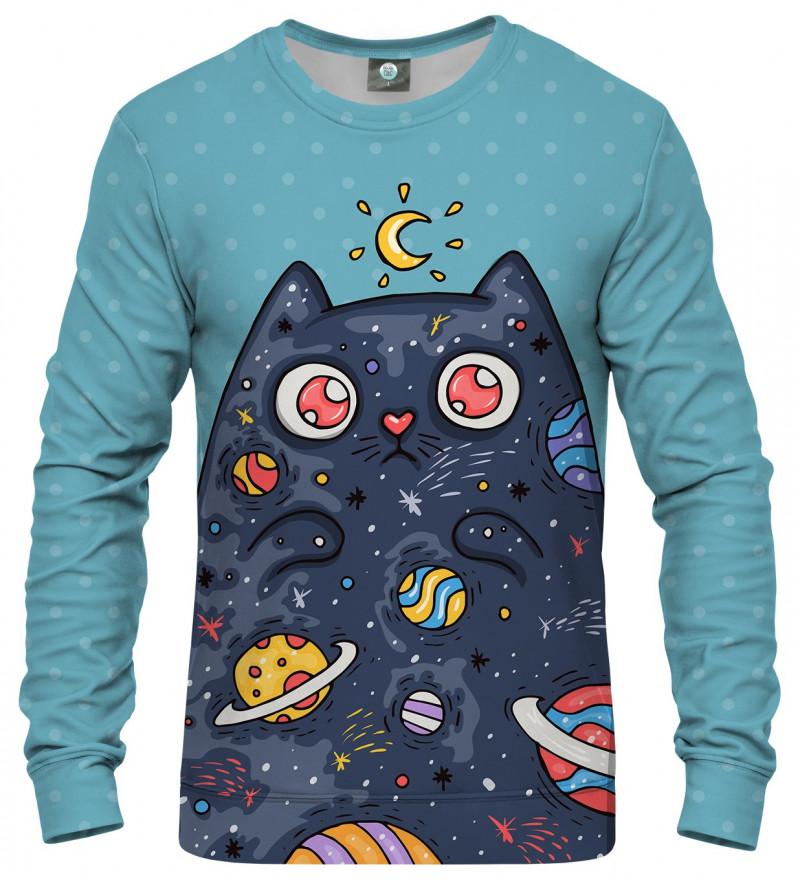 blue sweatshirt with space cat motive
