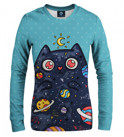 blue women sweatshirt with space cat motive