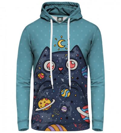 niebieska damska bluza z motywem kota w kosmosie