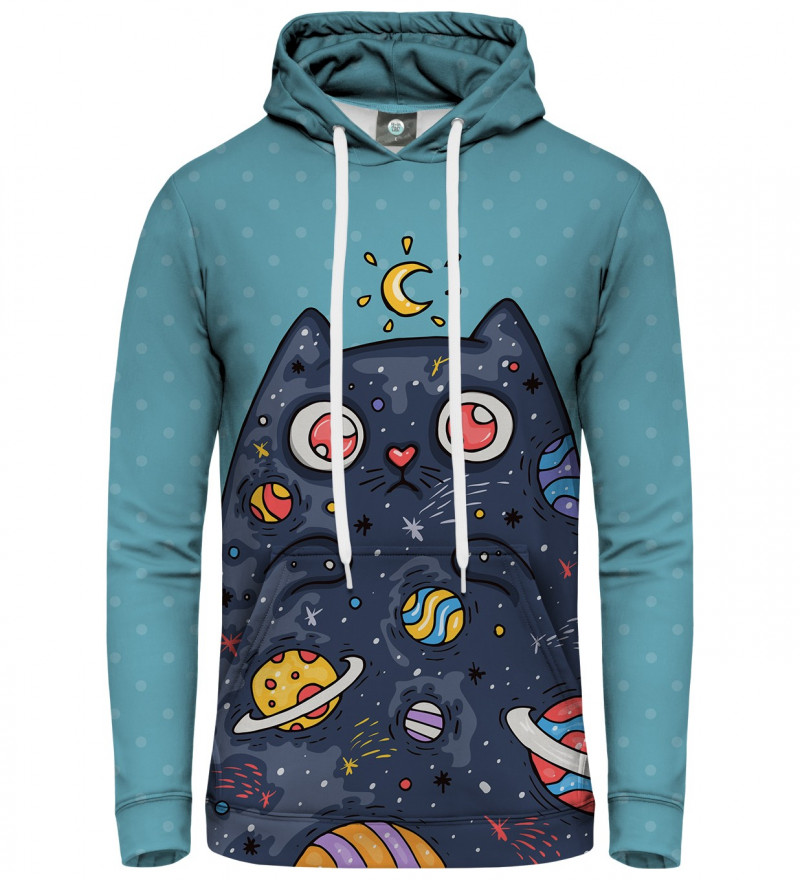 blue women hoodie with space cat motive