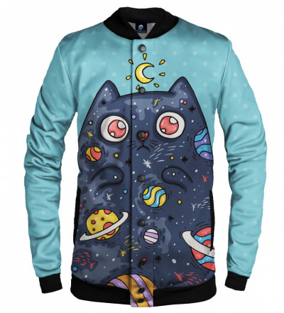 blue baseball jacket with space cat motive