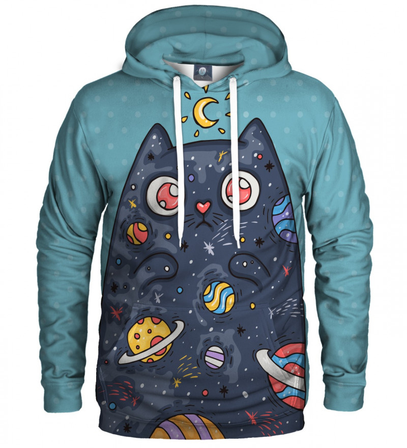 blue hoodie with space cat motive
