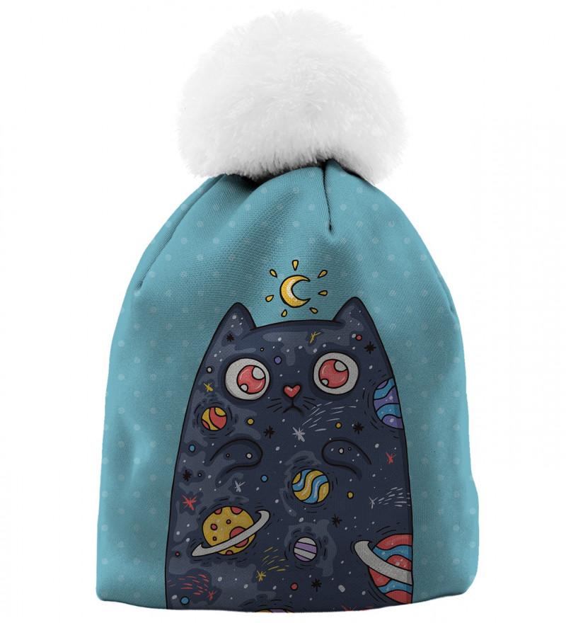niebieska czapka z motywem kota w kosmosie