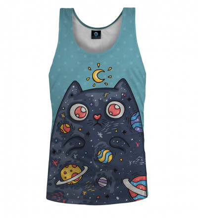niebieski top z motywem kota w kosmosie