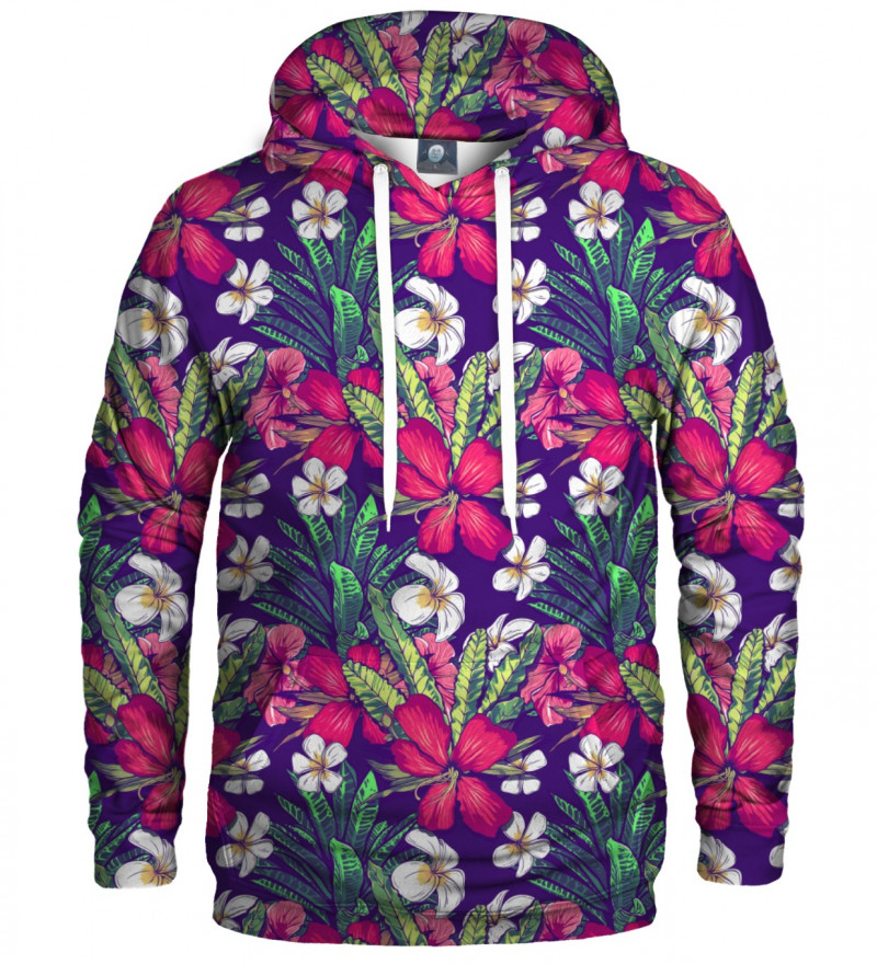 bluza z kapturem z motywem kwiatów