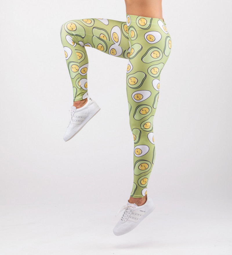 green leggings with egg+avocado motive