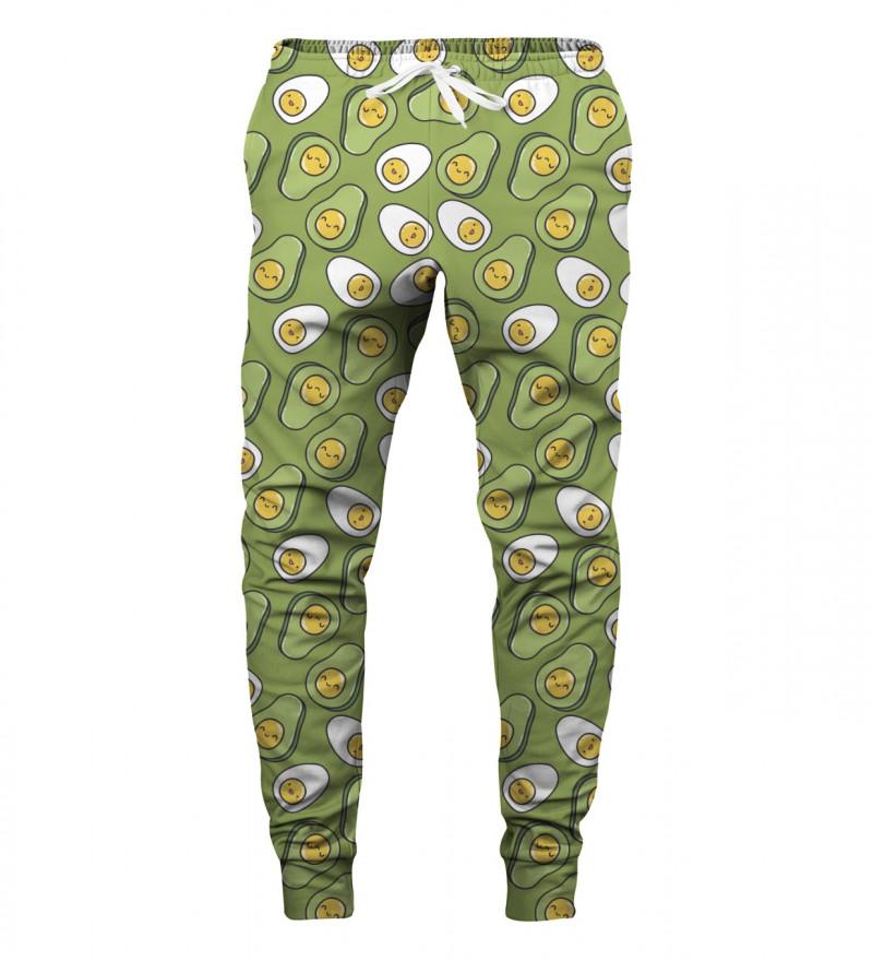 sweatpants with eggs+avocado motive