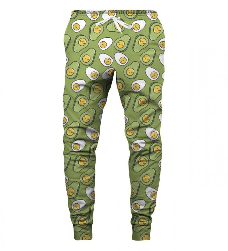 spodnie z motywem jajek i awokado