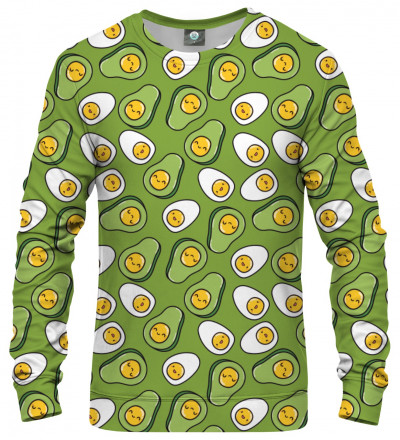 sweatshirt with eggs and avocado motive