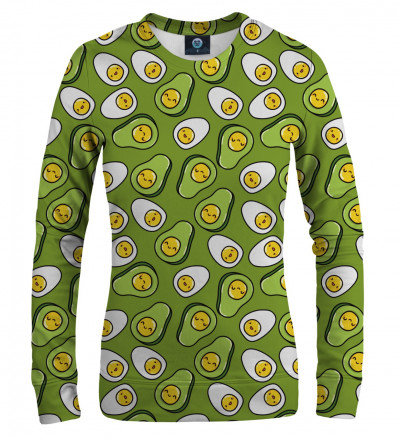 women sweatshirt with eggs and avocado motive