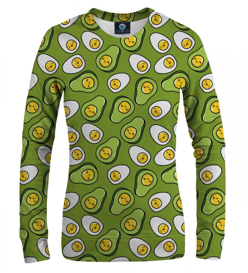 women sweatshirt with eggs and avocado motive