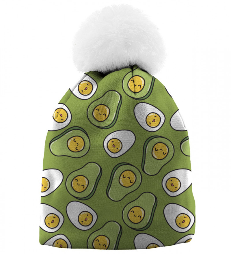 beanie with eggs and avocado motive