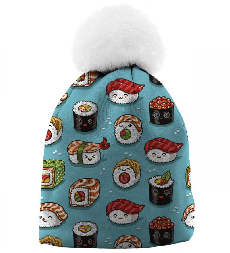 czapka z motywem sushi