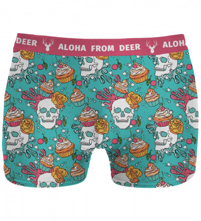 underwear with skulls and cupcakes motive
