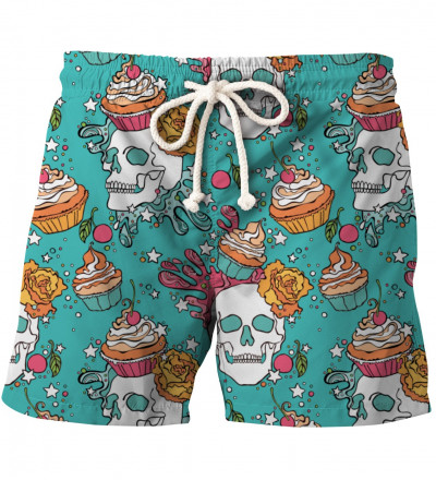 shorts with skulls and cupcakes motive