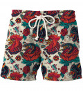 shorts with hen and roses motive